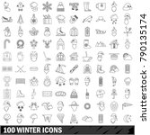 100 winter icons set in outline ... | Shutterstock .eps vector #790135174