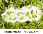 Small photo of Baby lettuce leaves spelling the word vegan framed by a bunch of mixed greens