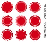set of round red labels. vector ...   Shutterstock .eps vector #790142116