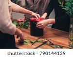 the adult professional florist... | Shutterstock . vector #790144129