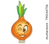 cartoon onion character winking.... | Shutterstock .eps vector #790144756