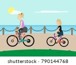 young woman and teenager girl... | Shutterstock .eps vector #790144768