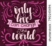 hand drawn calligraphy love... | Shutterstock .eps vector #790145494