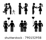 stick figure couple with gift... | Shutterstock . vector #790152958