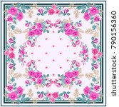 scarf floral print. russian... | Shutterstock .eps vector #790156360