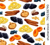 dried fruits seamless pattern... | Shutterstock .eps vector #790158790