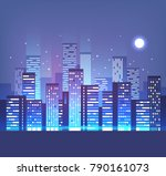 night city skyline with neon... | Shutterstock .eps vector #790161073