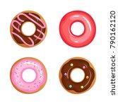 cartoon glazed sweet donut...   Shutterstock .eps vector #790162120