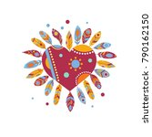 heart with feather icon... | Shutterstock .eps vector #790162150