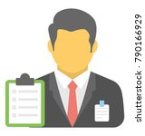 supervisor flat colored icon  | Shutterstock .eps vector #790166929