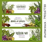 herbs and spices sketch banners ... | Shutterstock .eps vector #790167730