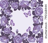 floral card template with... | Shutterstock .eps vector #790168444