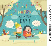 young couple sending love... | Shutterstock .eps vector #790169044