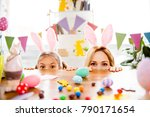 two cute little sisters ... | Shutterstock . vector #790171654