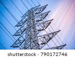 high voltage pole with color of ... | Shutterstock . vector #790172746