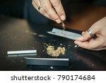 preparing and rolling marijuana ...   Shutterstock . vector #790174684
