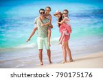 young family on vacation have a ... | Shutterstock . vector #790175176