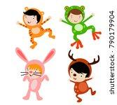 cute little kids wearing animal ... | Shutterstock .eps vector #790179904