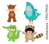 cute little kids wearing animal ... | Shutterstock .eps vector #790179910