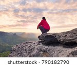 alone tourist with cap and... | Shutterstock . vector #790182790