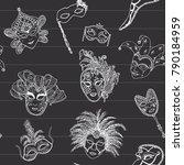 venice italy carnival masks... | Shutterstock . vector #790184959