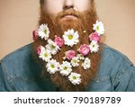 a bearded man with a decorated... | Shutterstock . vector #790189789