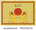 papyrus with the image of aker  ...   Shutterstock .eps vector #790192273