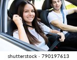 young attractive couple riding... | Shutterstock . vector #790197613