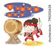 "japanese drum ""wadaiko""festival ... | Shutterstock .eps vector #790203628"