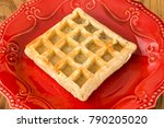 waffle served in a red plate on ... | Shutterstock . vector #790205020