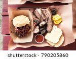 delicious texas barbecue spread  | Shutterstock . vector #790205860