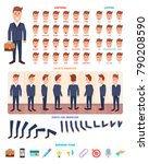 flat businessman character set. ... | Shutterstock .eps vector #790208590