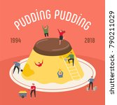 oversize pudding and downsizing ... | Shutterstock .eps vector #790211029
