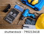 drill and set of drill tools... | Shutterstock . vector #790213618
