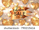 gold glitter sparkle hearts... | Shutterstock .eps vector #790215616