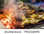 grilled scampi on the bbq... | Shutterstock . vector #790218490