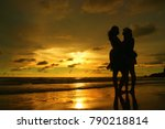 burning twilight with... | Shutterstock . vector #790218814