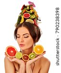hair mask from fresh fruits on... | Shutterstock . vector #790238398