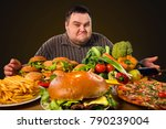diet fat man who makes choice... | Shutterstock . vector #790239004