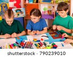 child dough play in school.... | Shutterstock . vector #790239010