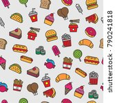 fast food pattern background | Shutterstock .eps vector #790241818