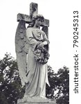 vintage sad angel on a cemetery ... | Shutterstock . vector #790245313