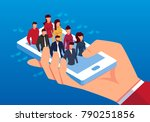 isometric a group of people on... | Shutterstock .eps vector #790251856