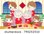 cartoon family wear cheongsam... | Shutterstock .eps vector #790252510
