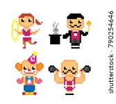 circus characters icon set.... | Shutterstock .eps vector #790254646