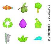 save nature icons set cartoon