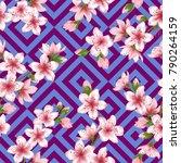 chinese cherry blossom patter...   Shutterstock .eps vector #790264159