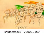 illustration of tricolor india... | Shutterstock .eps vector #790282150