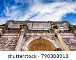Small photo of Arch of Constantine Rome Italy Arch built in 315 AD to celebrate Emperor Constantine's victory in 312 over co-emperor Maxenntius.