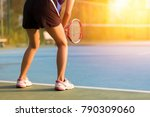 woman playing tennis and... | Shutterstock . vector #790309060